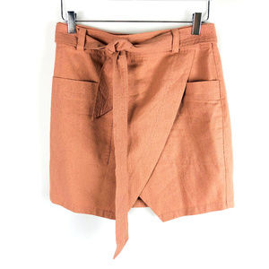 Madewell Silk Skirt in Nude Blush Pink with Tie